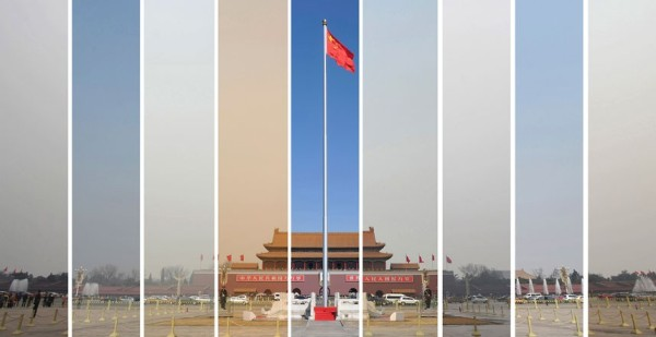 The air pollution levels in the sky over Tiananmen Square