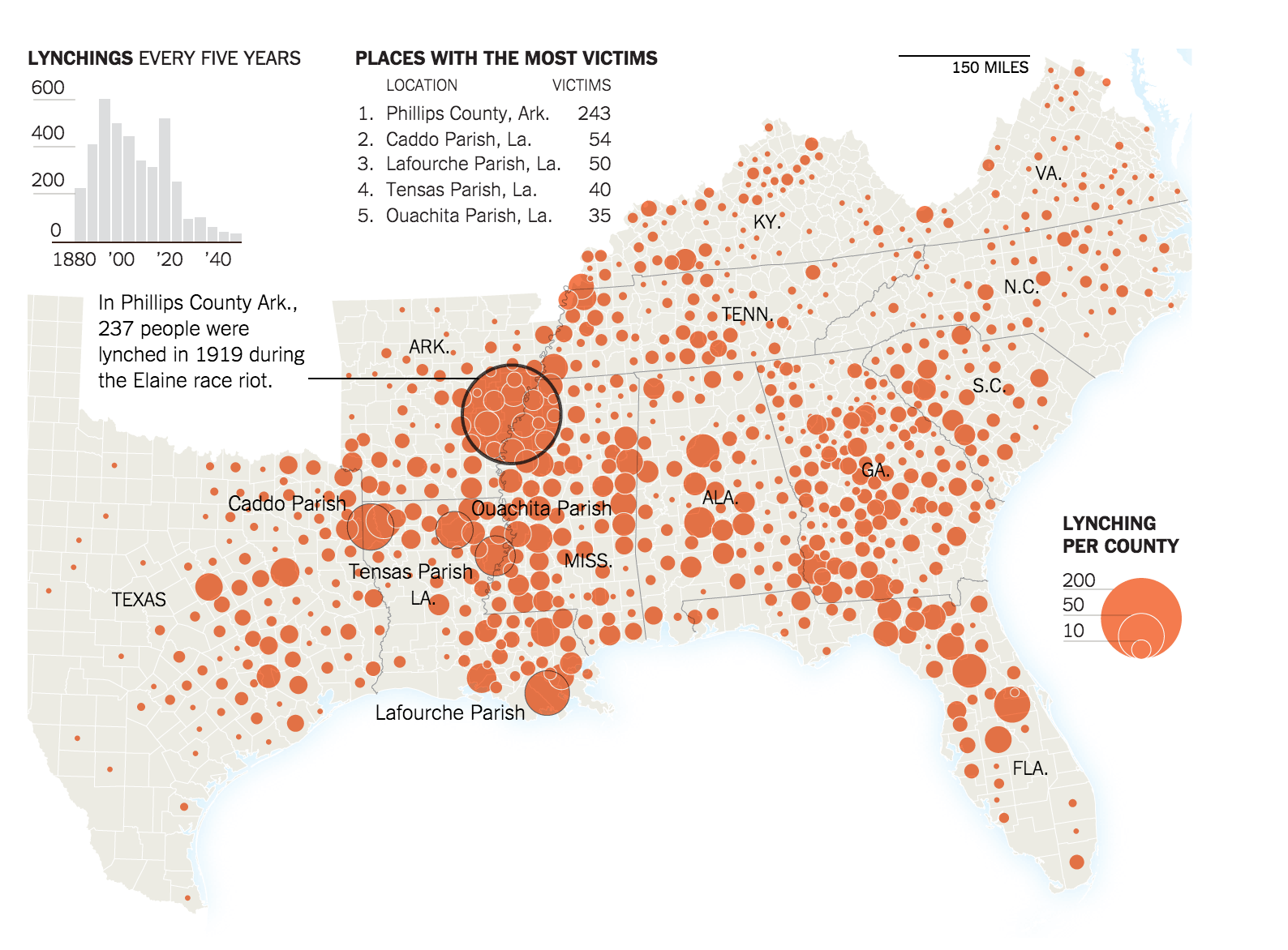 New York Times Graphic Mapping 73 Years of Lynchings in the US